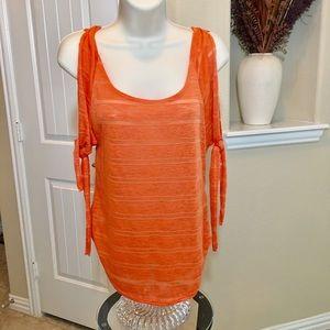 Orange Cold Shoulder sleeve top by Venus